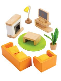 Wooden Dollhouse Media Room Furniture