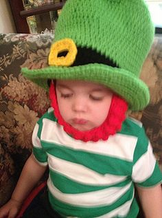 st patricks day hats crochet   St Patrick's Day hat crocheted green Irish Leprechaun hat with red ...