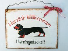 Aufkleber & Schilder - Türschild Hund Dackel - ein Designerstück von Un-Art-Tick bei DaWanda