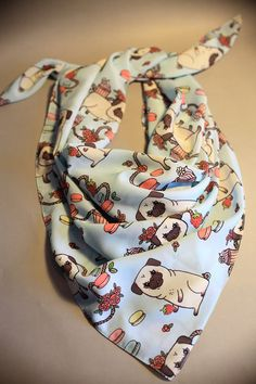Special SALE Cute pug scarf with cupcakes & by SissyYourBestFriend