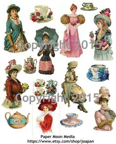 Victorian Ladies Tea, Collage Sheet Instant Digital Download  This high resolution collage sheet is available to you as an instant download as soon as your payment is processed.  Great for altered art projects, postcards, scrapbooking, gift tags, mixed media, ATCs, Perfect to be used for earrings, decoupage on tiles, as pendants or for any art project. The water mark will not appear on your downloaded copy. Images are free to use for any project, personal or commercial, but re-selling of the…