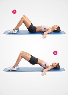 Glute raises target the muscles of your rear end, which can help make your belly flatter. The reason: When your glutes are weak—as they are in most women—the top of your pelvis tilts forward. This not only places stress on your lower back, but it causes your tummy to stick out—even if you don't have an ounce of fat. Your fix: the hip raise.