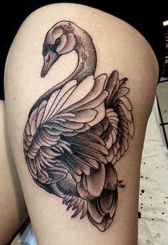 swan leg tattoo