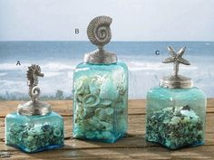 Set 3 Aqua Glass Lidded Jars from SeasonsGiftsAndHome.com