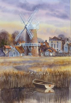 Cley Windmill by Terry Harrison Watercolor Architecture, Watercolor Landscape, Watercolour Painting, Landscape Paintings, Watercolor Pencils Techniques, Old Windmills, Caribbean Art, Funky Art, A Level Art
