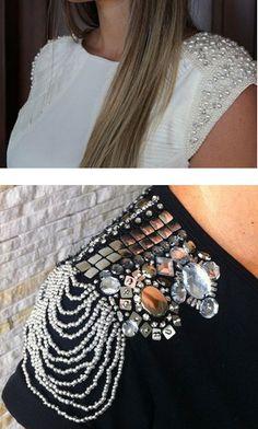 Декор одежды бусинами, бисером и стразами: 33 идеи... Brooch, Fashion, Needlepoint, Moda, Fashion Styles, Brooches, Fashion Illustrations