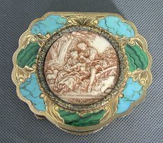 Italian-800-Silver-Compact-Celluloid-Enamel-Antique-Mirror-Romantic-Scene