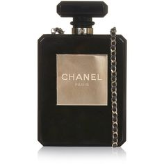Pre-Owned Chanel Black No5 Bottle Minaudière ($11,500) ❤ liked on Polyvore featuring bags, handbags, clutches, black, chanel pochette, colorful clutches, chain strap purse, woven handbags and chanel handbags