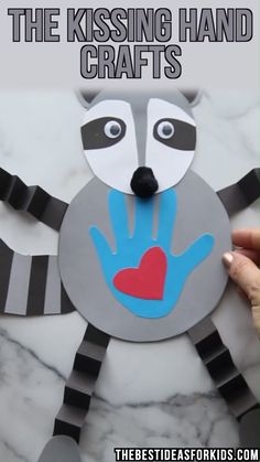 Aug 2019 - 3 Kissing Hand Crafts with free printable templates. Make a stand-up clothespin raccoon, a raccoon handprint card or a wiggly Chester the raccoon! Kissing Hand Preschool, Kissing Hand Crafts, Kissing Hand Activities, Activities For Kids, Spanish Activities, Preschool Crafts, Fun Crafts, Paper Crafts, Ocean Crafts