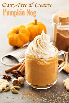 Dairy-Free Pumpkin Nog Recipe - rich, creamy, and optionally vegan. Also soy-free and optionally nut-free. Tastes like pumpkin pie in a glass!