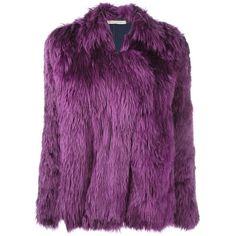 Balenciaga Vintage Faux Fur Jacket (52.300 RUB) ❤ liked on Polyvore featuring outerwear, jackets, blue, long sleeve jacket, purple straight jacket, blue jackets, straight jacket and purple jacket