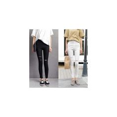 Distressed Twill Leggings ($18) ❤ liked on Polyvore featuring pants, leggings, women, white leggings, white skinny jeans, distressed leggings, white skinny leg jeans and ripped leggings