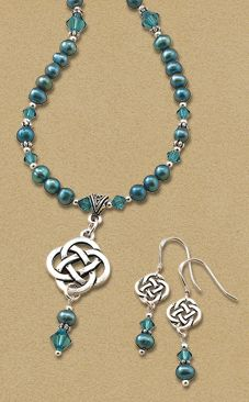 Blue Pearl Jewelry GaelSong Exclusive! Immerse yourself in a dream of blue, surrounded by the gift of the waters. Pearls the blue of a calm ocean glow with a shimmering radiance, accented by the gleam of blue crystals and the shine of silver-plated pewter eternal knotwork.