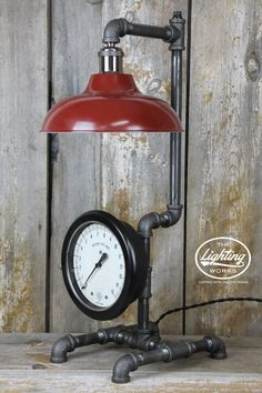 Steampunk Industrial Table Lamp with a Large Gauge & Red Shade