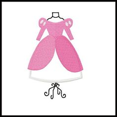 ARIEL PINK Dress Form embroidery applique fill design for quilts, clothing & more