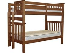Bedz King Tall Mission Style Bunk Bed Twin over Twin with End Ladder, Espresso