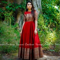 ideas to make long gown dress from old sarees. Lehenga Choli Designs, Kurta Designs, Kurti Designs Party Wear, Blouse Designs, Dress Designs, Indian Gowns Dresses, Indian Fashion Dresses, Indian Designer Outfits, Designer Gowns