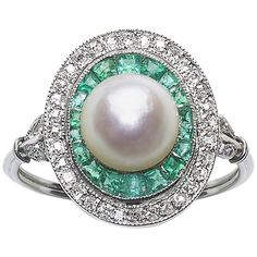 Art Deco Pearl Emerald and Diamond Ring | 1stdibs.com
