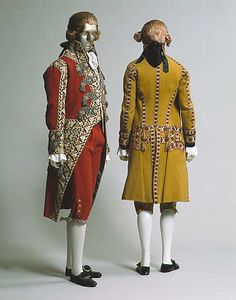 Two suits of livery.  Leftmost (red) suit, wool and silk, date given as late 18th to early 19th century, Italian. http://www.metmuseum.org/Collections/search-the-collections/86582  Rightmost (yellow) suit, wool, date given as early 19th century, Italian. http://www.metmuseum.org/Collections/search-the-collections/86581