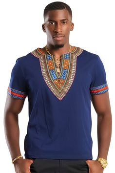 Our Navy blue African Dashiki Print T-shirt is great for an everyday look. Whether you are looking to go casual, elegant or just basic style. It has a soft feel, with dashiki prints around the neck and the arms. It comes in multiple colors and ma. African Attire For Men, African Clothing For Men, African Shirts, African Wear, African Style, African Outfits, African Print Shirt, African Fashion Designers, African Inspired Fashion