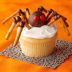 Spider cupcakes. Also awesome with the spider web pretzel snacks