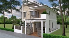 Home Design Plan with 4 Bedrooms Plot This villa is modeling by SAM-ARCHITECT With 2 stories level. It& has 4 bedrooms. Home Design Plan Double Storey House Plans, One Storey House, 2 Storey House Design, Two Story House Plans, Small House Design, Small House Plans, Modern House Design, Duplex House Plans, Bungalow House Plans