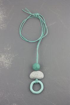 Turquoise grey polymer clay pendant necklace by debroervandevogel