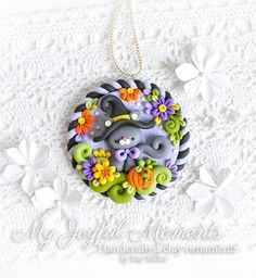 Handcrafted Polymer Clay Fall Halloween Kitty Ornament