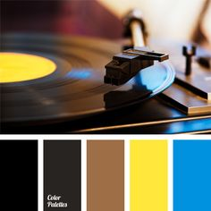 This color palette is based on favorable contrast of sky-blue and yellow with brown and black colors. You can decorate the executive's study, offices, school classrooms with this color scheme. This color palette can be successfully used in the design of the office costumes and business suits for directors and school teachers.
