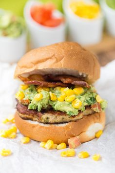 Grilling this summer? Try these Bacon Guacamole Tex Mex Chicken Burgers from Greens & Chocolate.