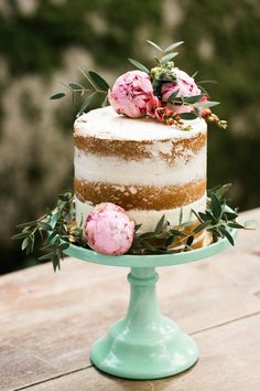 One Tier Naked Wedding Cake topper with Pink Peonies