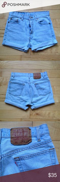 Vintage 501 Levis Cut Offs Classic high waist button fly 501s. Light wash. Labeled size 30 but vintage Levis run small and have NO stretch. I am a size 4 and they button but are tight on me. Would fit a size 0, 2 or smaller 4, or size 25/26. Levi's Shorts Jean Shorts
