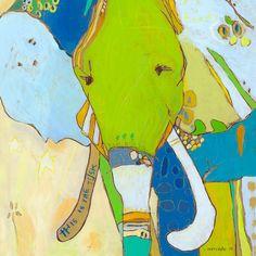 Bambino Elephant Canvas-Druck von Jennifer Mercede 36x36cm