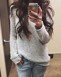Women's Simple Style Pure Gray Wool Sweater