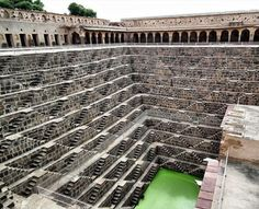In the Indian village of Abhaneri: the 1,200-year-old Chand Baori step well. Built in the 9th century, the 13-storey, 100-feet deep structure is entirely surrounded by maze-like steps — all 3,500 of these — for easy access to the water.
