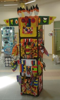 cool! totem pole! collage sculpture art in society collaborative
