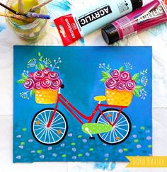 Flower Bike Acrylic paint on paper;  #bike #bicycle #flower #painting #acrylicpaint #summer