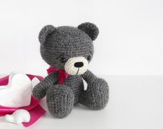This cute sitting teddy bear is crocheted with pure alpaca wool, which is luxuriously soft and just a bit fuzzy, like alpaca yarns usually are.