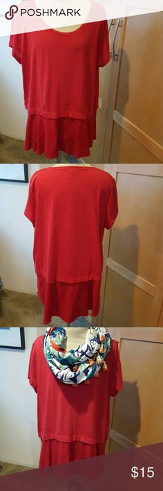 Layered Red Shirt size 1X This dark red shirt is beautiful!  Top layer is a nice weight tee-shirt cotton with a lower silk like fabric high -low hemline.   Would look great for work or play, dress pants, jeans or leggings.  EUC.  It is ready for fabulous YoU! Style & Co Tops Tees - Short Sleeve