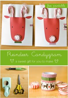 DIY super-cute Reindeer Christmas Cards ~  using candy canes and peppermints... cute for classmates! free printable