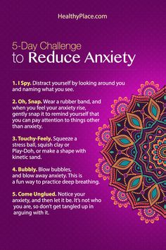 """Taking this five-day challenge to reduce anxiety can be very effective. Learn little tricks you can do every day to reduce your anxiety. Try it"