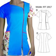 ✂️¡NUEVO MOLDE! 👉 BLUSA TRABAJO RT 1917 Con 20 % de descuento en formato PDF PRO ! 😱😍   En 👉👉👉 www.moldesunicose.com encuentras los moldes que más te gusten en la talla que necesites! busca este modelo con el  🔎 CODIGO: 16001917  #moldes #patrones #molderia #patron #pattern #moda #otoño  #invierno #polera #ropa #corte #costura #confeccion #corteyconfeccion #DIY #tutoriales #pasoapaso #unicose #moldesunicose #unicoselamolderia #poleron Beauty Salon Uniform Ideas, Techniques Couture, Work Uniforms, Medical Scrubs, Nursing Clothes, Scrub Tops, Work Wear, Look, Costume