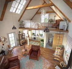 Here are 40 of our best picks for most beautiful loft living spaces! Read what is a loft apartment and loft style. Get ideas for your loft homes. Sweet Home, Tiny House Living, Bus Living, Living Room, Cottage House, Rustic Cottage, Bedroom Loft, Attic Loft, Master Bedroom