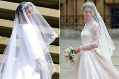 Kate, who did her own makeup on her big day, and Meghan, who opted for a more natural look, both wore veils that passed their shoulders and were secured by tiaras loaned to both of them by Queen Elizabeth II.