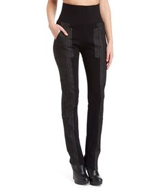 Another great find on #zulily! Black Wide-Waistband Flare-Leg Pants - Women #zulilyfinds