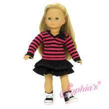 Hot Pink & Black Long Sleeve Stripe Shirt w/ Black Tiered Skirt Fits 18 Inch American Girl Dolls Clothes Outfit