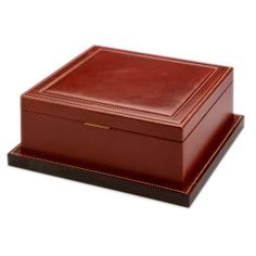 A rare and stylish leather cigar humidor by Paul Dupré Lafon (1900 - 1971) for Hermès, the wooden base section and top entirely covered in handstitched leather, the interior in Spanish cedar complete with new/modern hygrometer and humidifier fitted, signed HERMES PARIS to the underside.