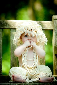 Sweet baby girl in lace and pearls Cute Little Baby, Little Babies, Baby Love, Cute Babies, Baby Kids, Precious Children, Beautiful Children, Beautiful Babies, Baby Pictures