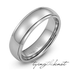 Mens Tungsten Carbide Polished Metal Dome by TyingTheKnotbyClaude