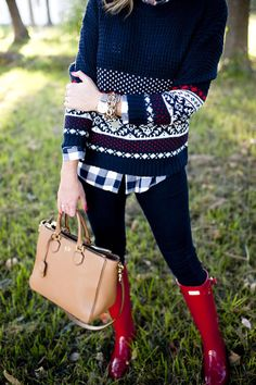 Outfit / Holiday Fair Isle Sweater and Gingham Button Down with Red Hunter Boots on imgfave Fall Winter Outfits, Autumn Winter Fashion, Fall Fashion, Winter Holiday, Cozy Christmas, Winter Style, Christmas Morning Outfit, Holiday Outfits Christmas Casual, Holiday Party Outfit Casual